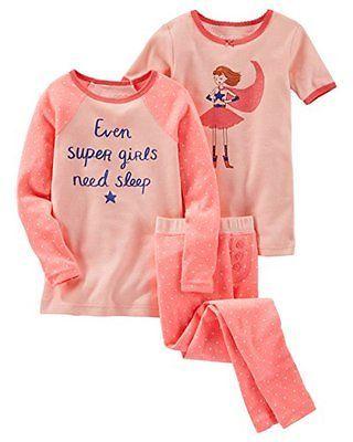 7feaab2091 Sleepwear 147215  Oshkosh B Gosh Little Girls 3 Piece Snug Fit Cotton Pajama  - 4-Toddler -  BUY IT NOW ONLY   32 on eBay!