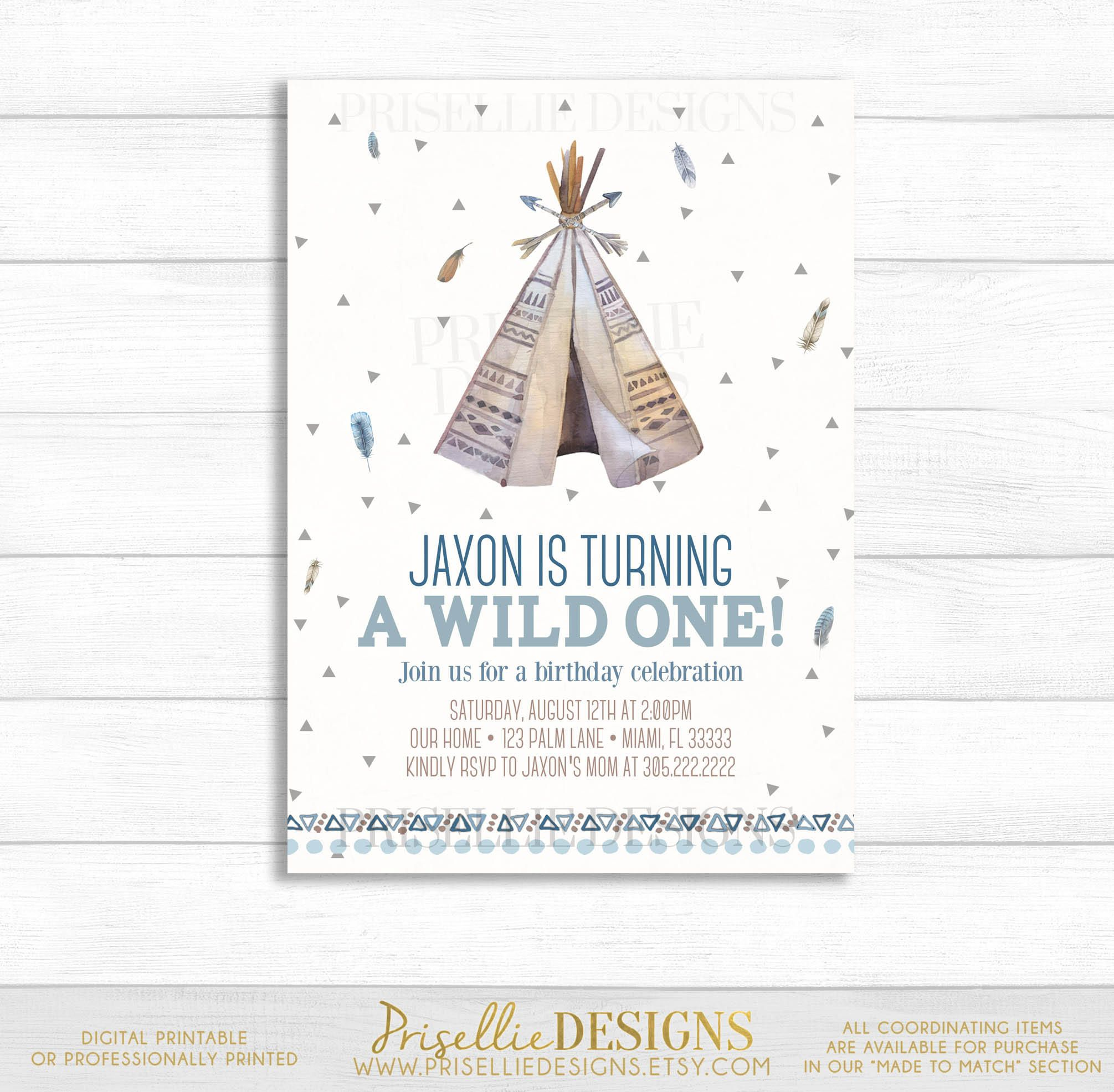 Wild One Birthday Invitation First Tribal TeePee Boho Boy Triangle By PrisellieDesigns On Etsy