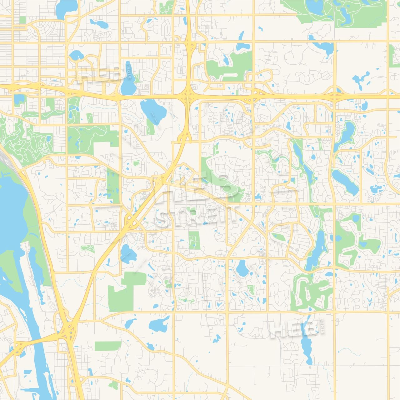 Empty vector map of Woodbury, Minnesota, USA | Maps Vector ...