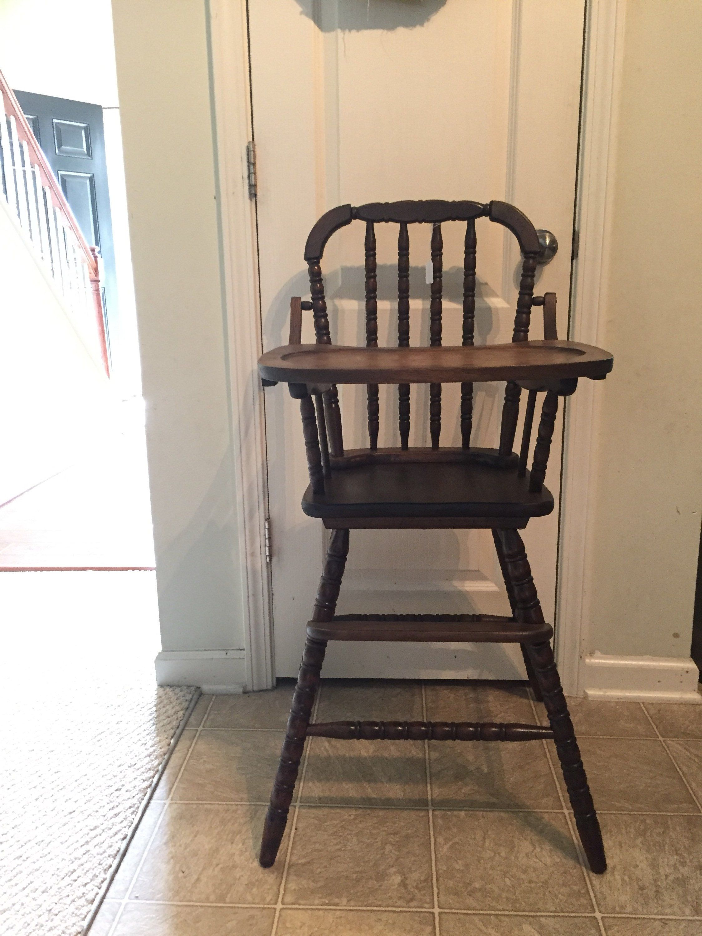 Completely refinished highchair vintage wooden high chair