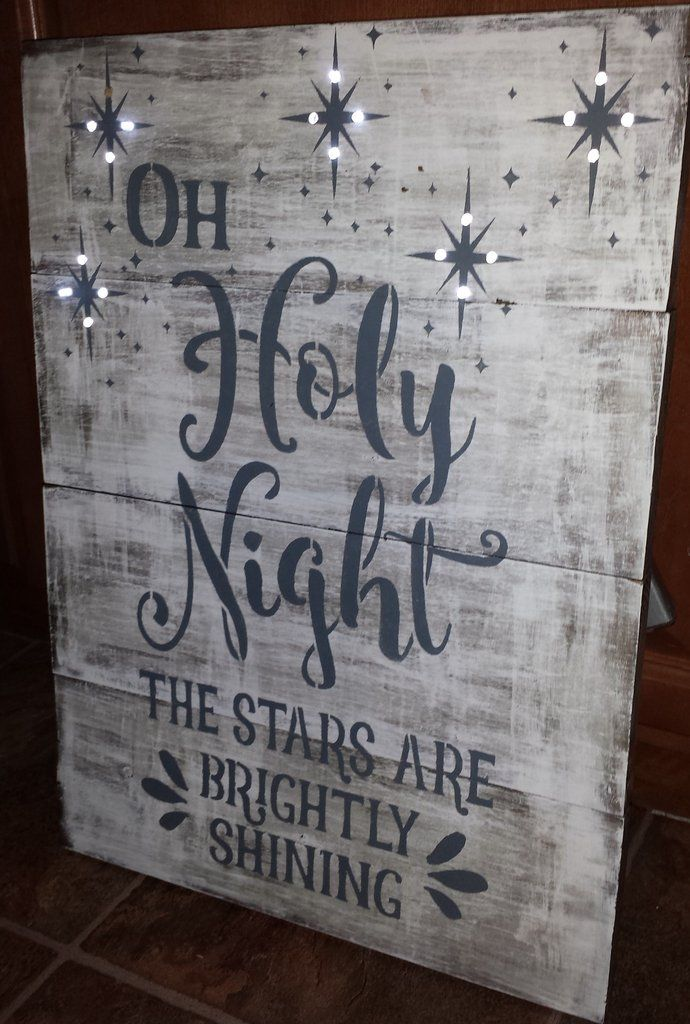 oholy night lighted christmas sign this solid wood sign is put together with 4 - Lighted Christmas Signs