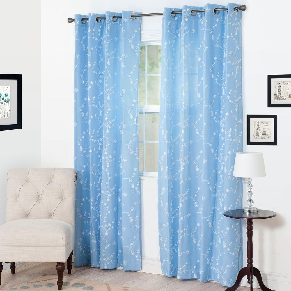 Lavish Home Semi Opaque Inas Light Blue Polyester Curtain Panel 54 In W X 95 In L 63 207 95 B Panel Curtains Curtains Home