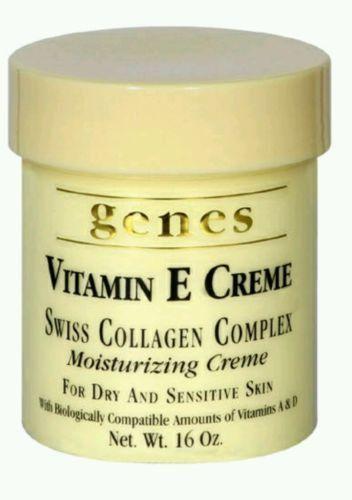 Genes Vitamin E Creme (16 oz) Swiss Collagen Complex Moisturizing Creme Lotion
