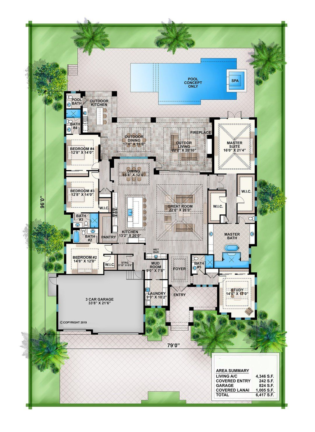 Hpm Home Plans Home Plan 009 4347 Pool House Plans Florida House Plans Coastal House Plans