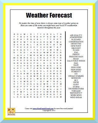 Weather Forecast Word Search No Matter The Time Of Year There - Weather forecast printable