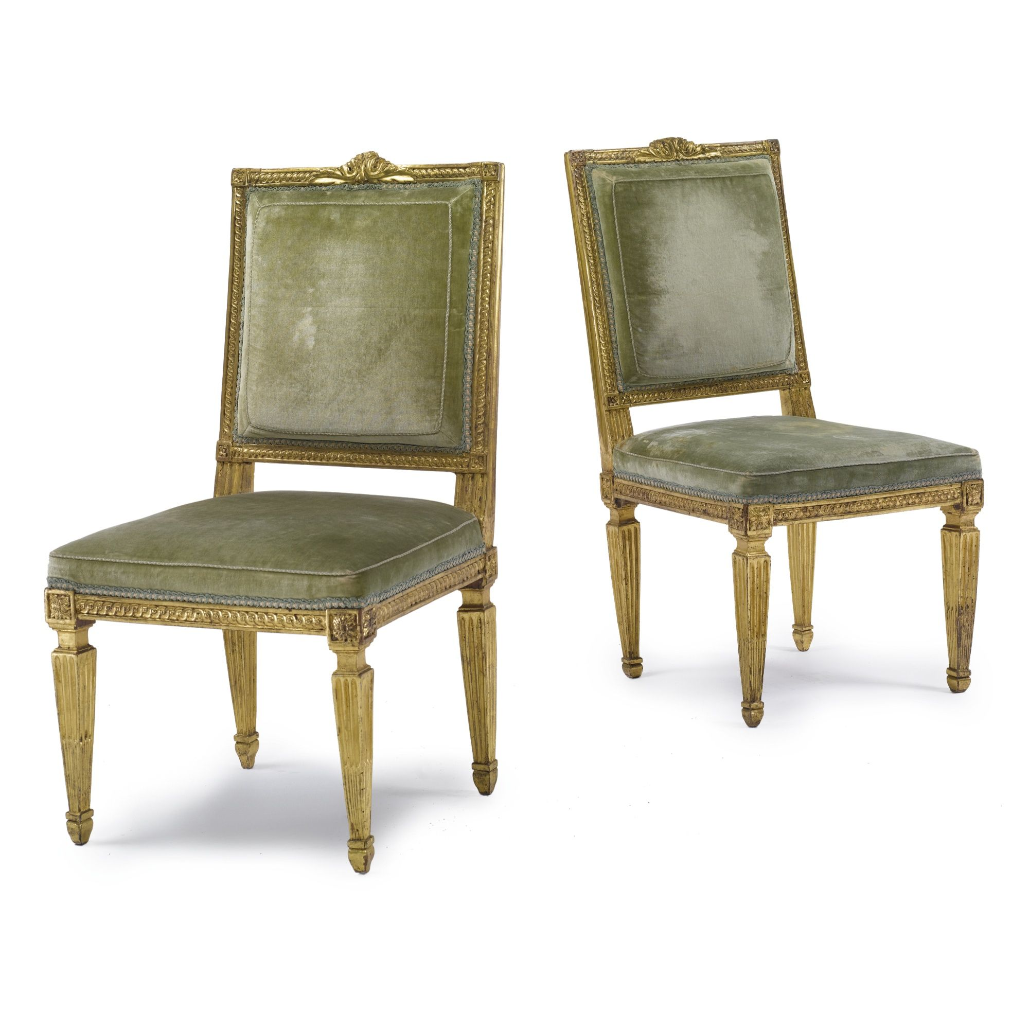 c1775 A pair of Louis XVI carved giltwood chairs circa