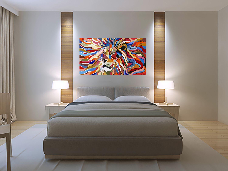 Lion Painting Print Colorful Canvas Art Pop Art Wall Art Etsy In 2021 Bedroom Wall Art Canvas Colorful Canvas Art Horizontal Wall Art