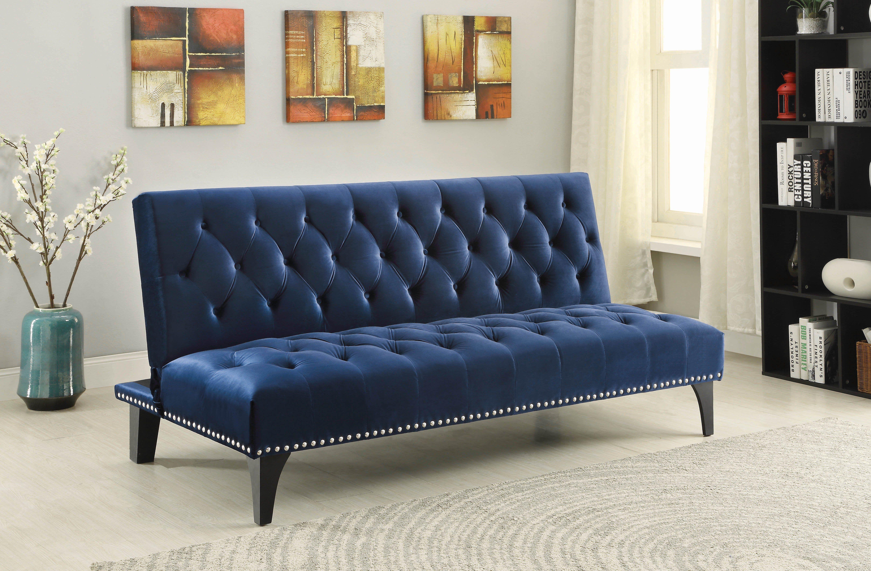 Coaster Transitional Royal Blue Velvet Futon Sofa Bed Velvet