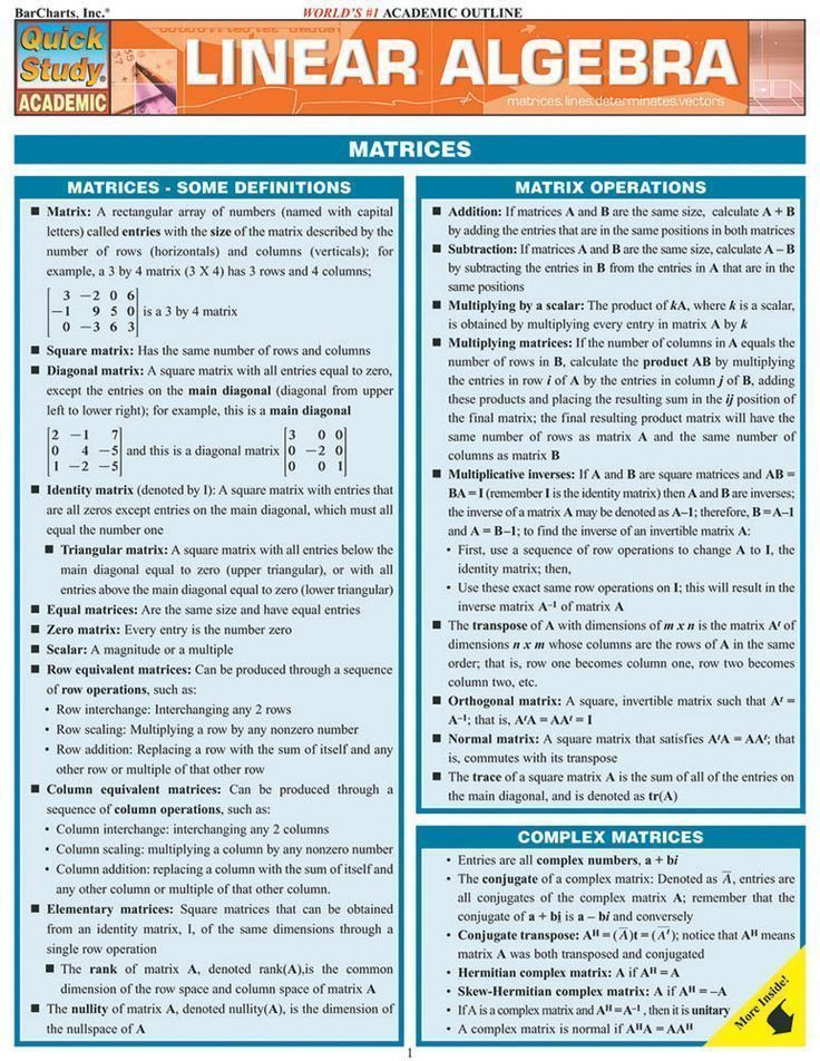 Linear Algebra Review Sheet including matrix definitions, matrix ...