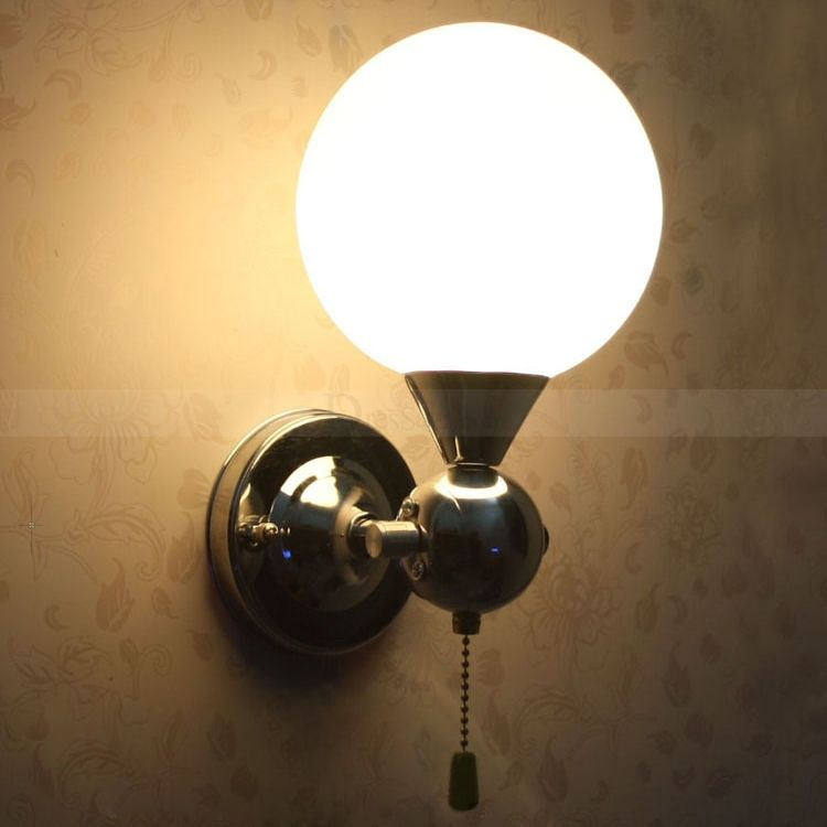 Pull Chain Switch Chrome Finish Wall Sconce With White Globe Shade