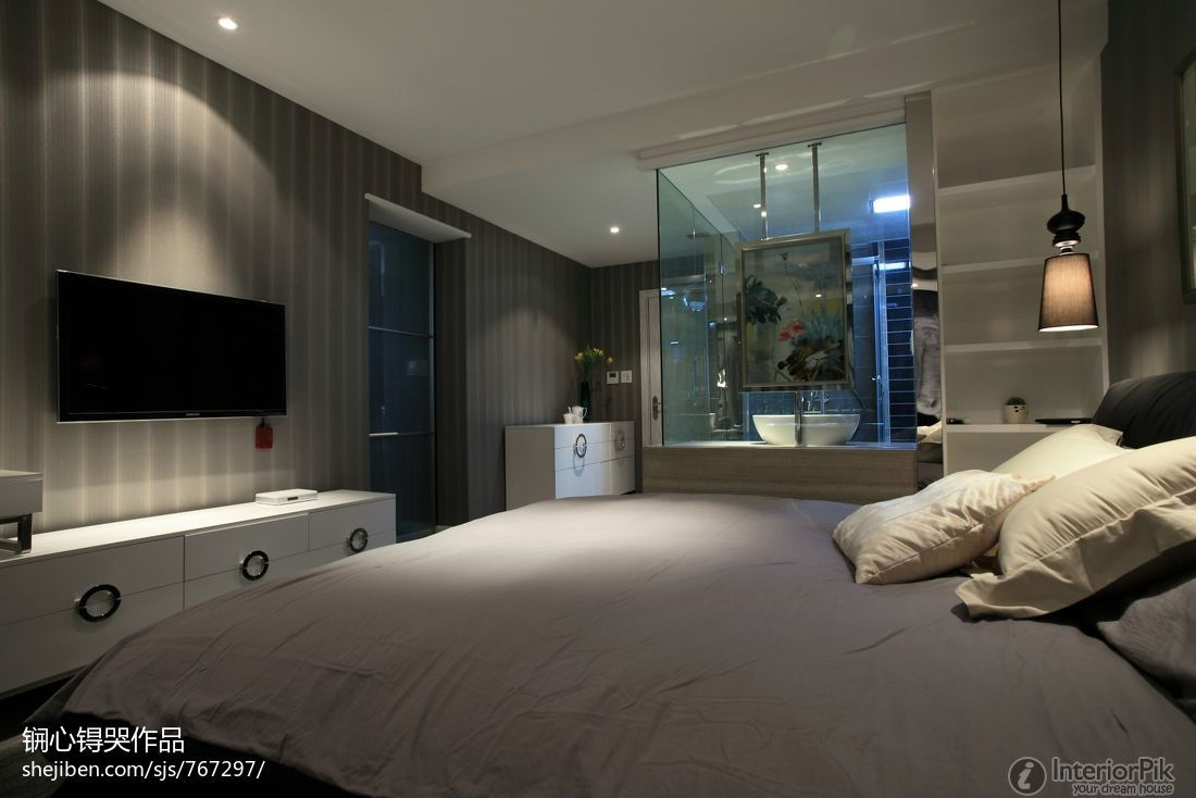 Wonderful Modern Bedroom With Tv =