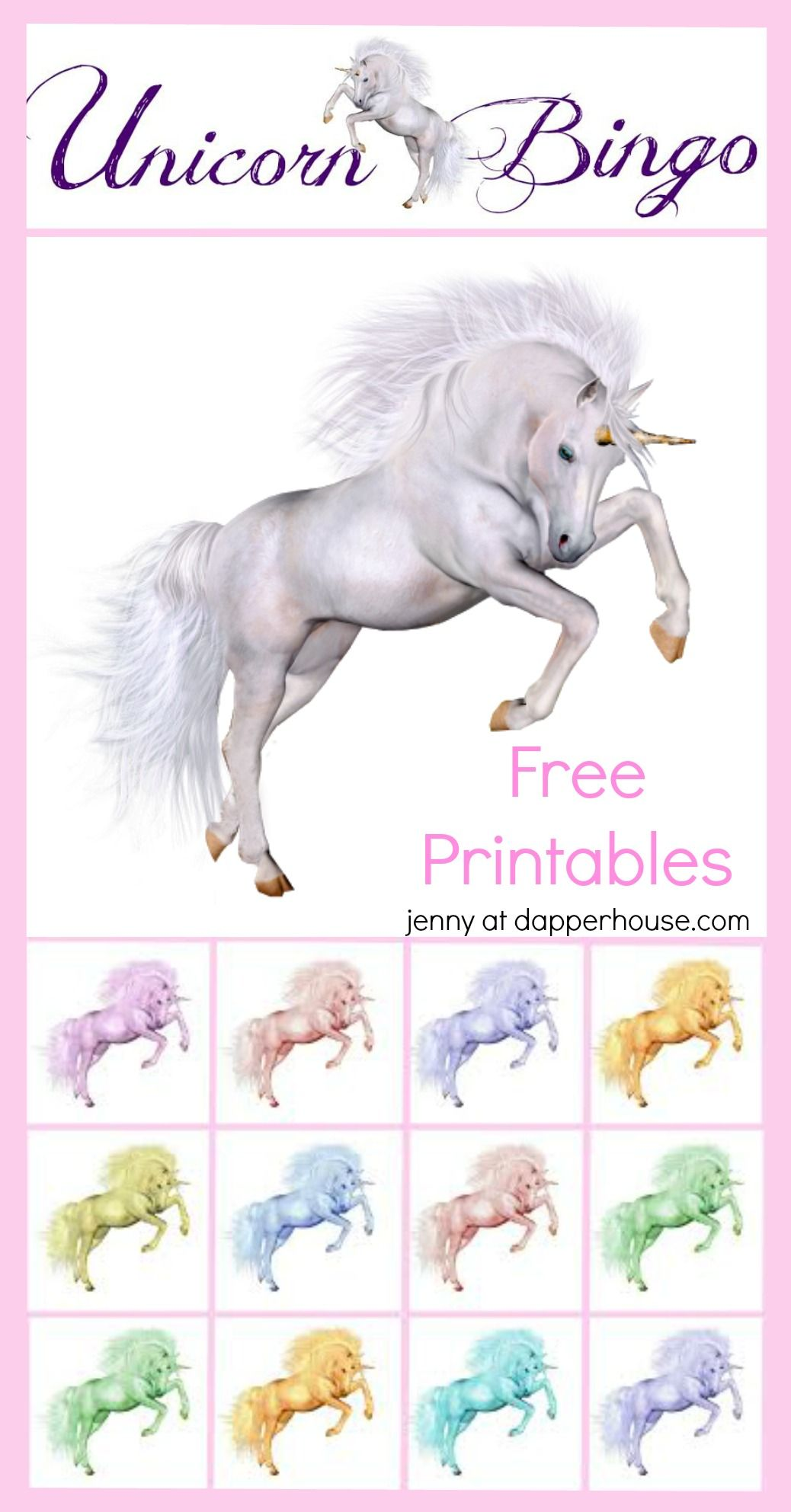 Free Printable Unicorn Party Game Bingo - Kids unicorn party, Unicorn printables, Unicorn party, Unicorn birthday parties, Rainbow unicorn party, Unicorn games - This is not a sponsored post  Opinions and content belong to jenny at dapperhouse  Unicorns are magical and wonderful  So are games and free printables! Here are some fun and free printables that you can use for spending time with your child or for a full blown party! They are sure to love the