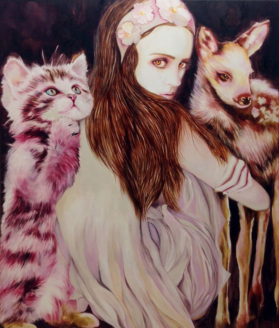 "Anna Borowy ""Creatures Dawn"" 140x120 cm oil on canvas"