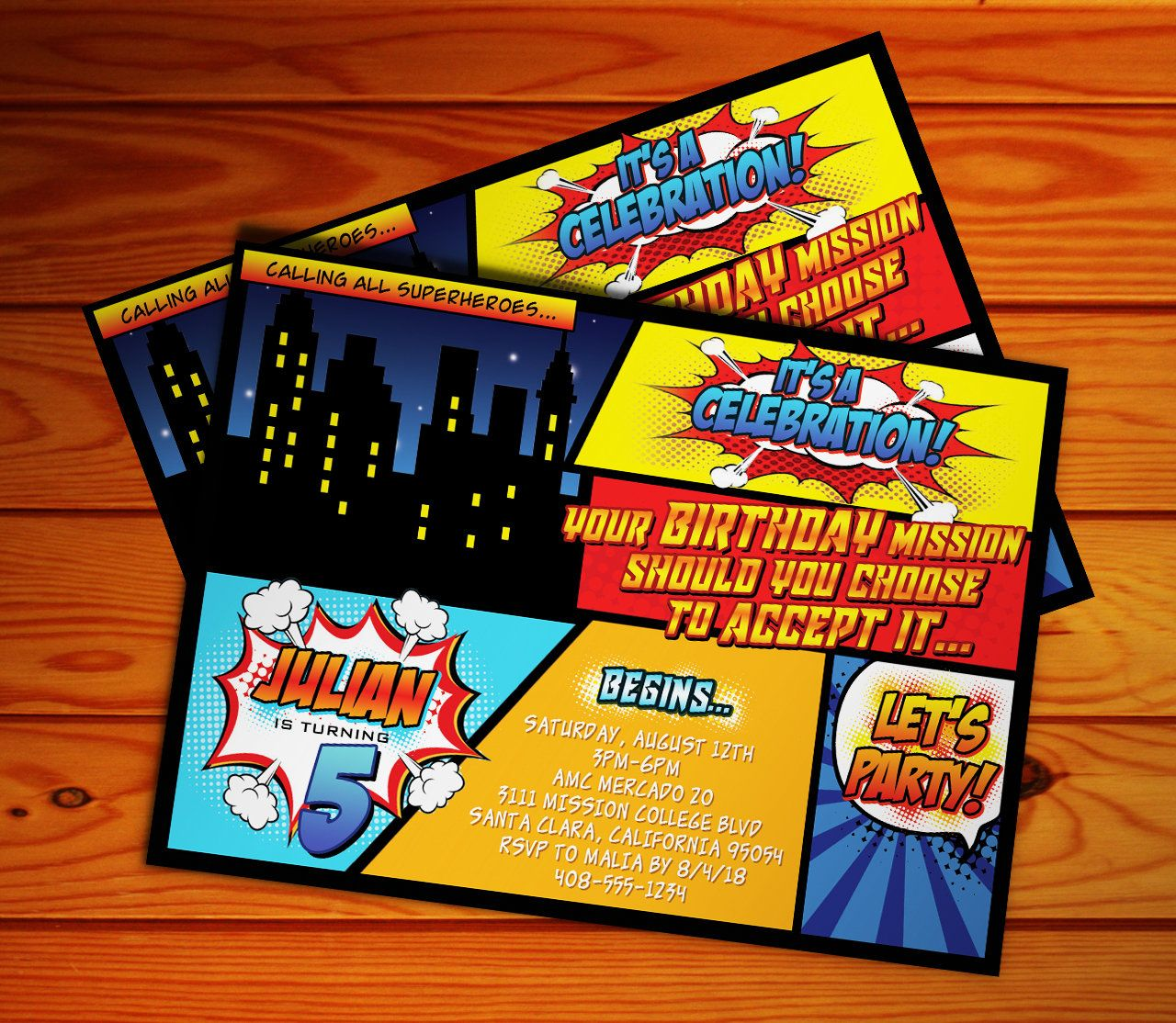 Superhero Comic Style Digital Invitation Digital File
