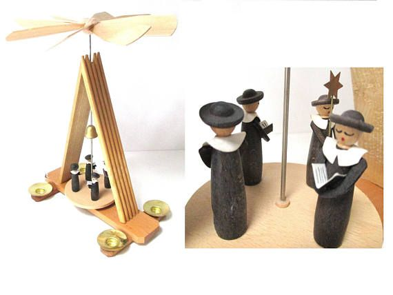 German Pyramid Hunter Woods Erzgebirge Wood Windmill Table Candle Power Vintage Christmas Decorations Vintage Gifts Ideas