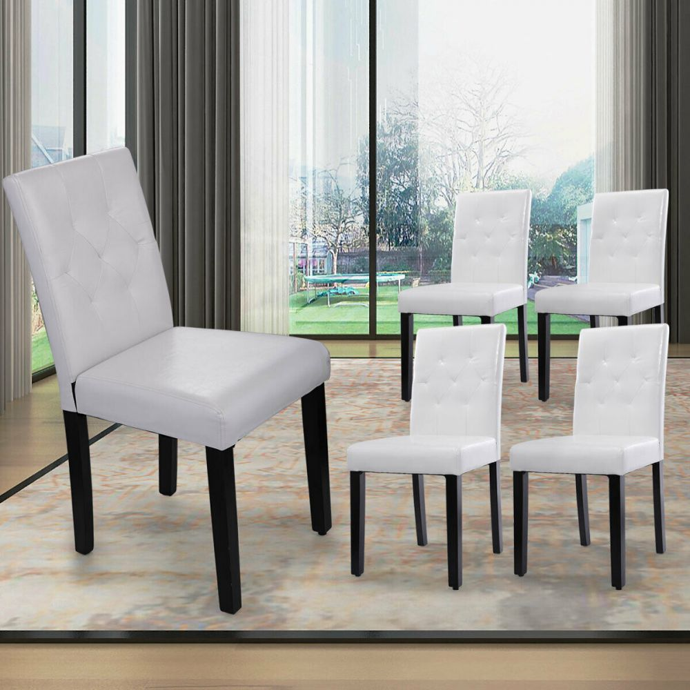 Set Of 4 Kitchen Dinette Dining Room Chair Furniture White Pu Leather Backrest In 2020 Side Chairs Dining Furniture Furniture Chair