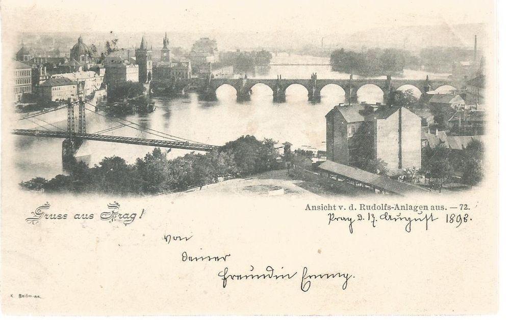Prag Karte Europa.Nov10 Alte Karte Praha Prag Gelaufen 1898 Lithografie In Sammeln