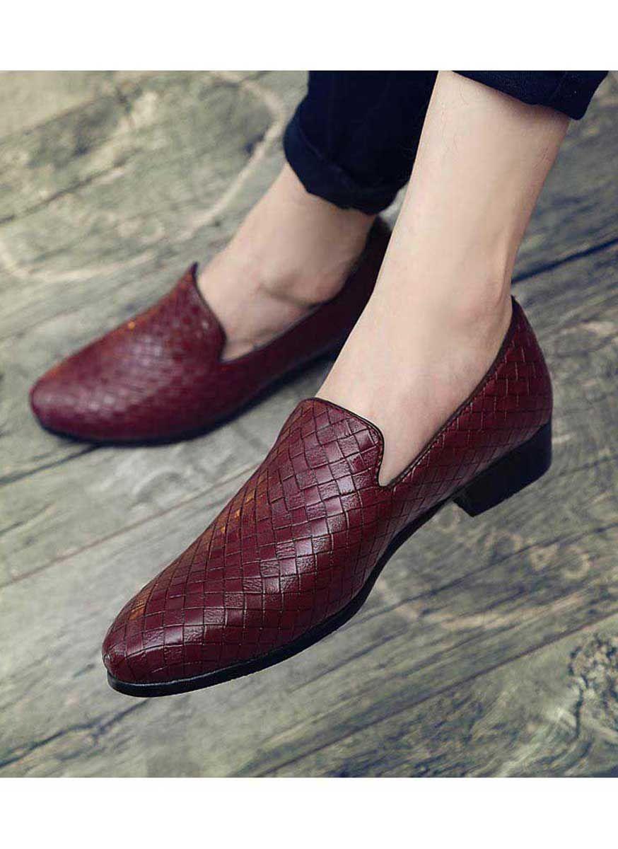 Men's #red leather slip on #DressShoes