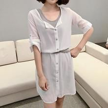 Bambo - Set: Short Sleeved Button-front Dress + Tank Dress