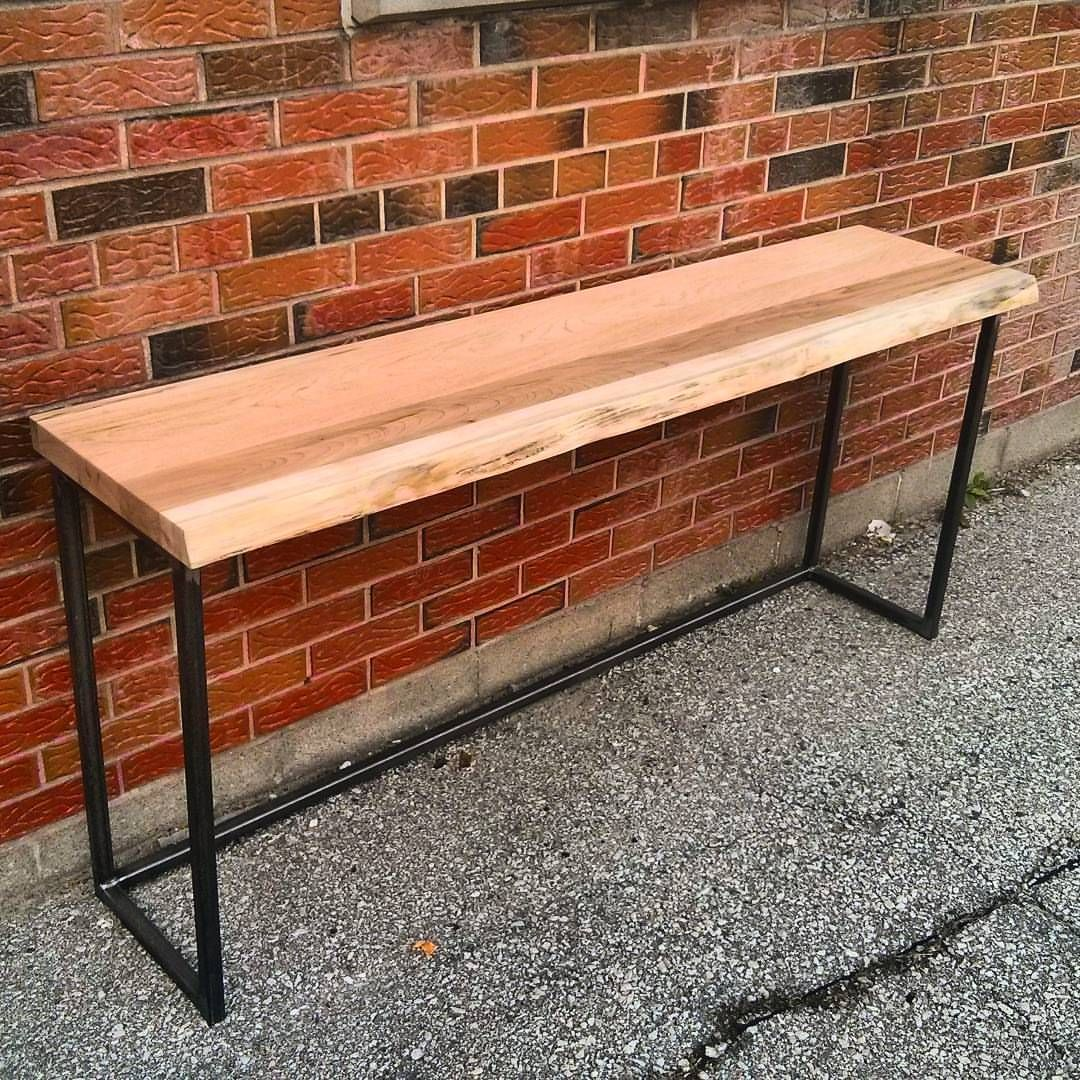 Live edge ambrosia maple console table on industrial steel frame live edge ambrosia maple console table on industrial steel frame custom piece by barnboardstore geotapseo Image collections