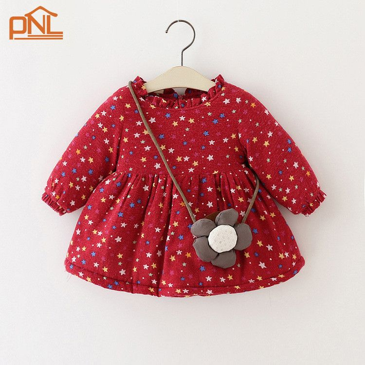 e3b283cbe Click to Buy    2017 Baby girl print dresses kids winter dresses ...