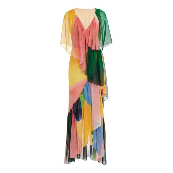 Rosetta Getty Ruffle Wrap Full Length Dress (€1.975) ❤ liked on Polyvore featuring dresses, multi, white dress, ruffle wrap dress, white silk dress, wrap dress and flounce dress