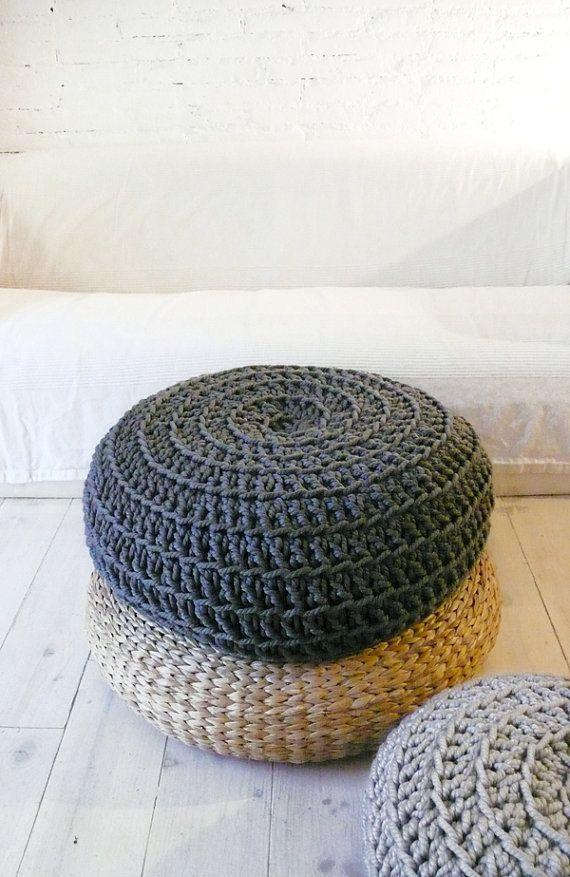 Big Floor Cushion Crochet Dark Grey Giant Floor Cushions