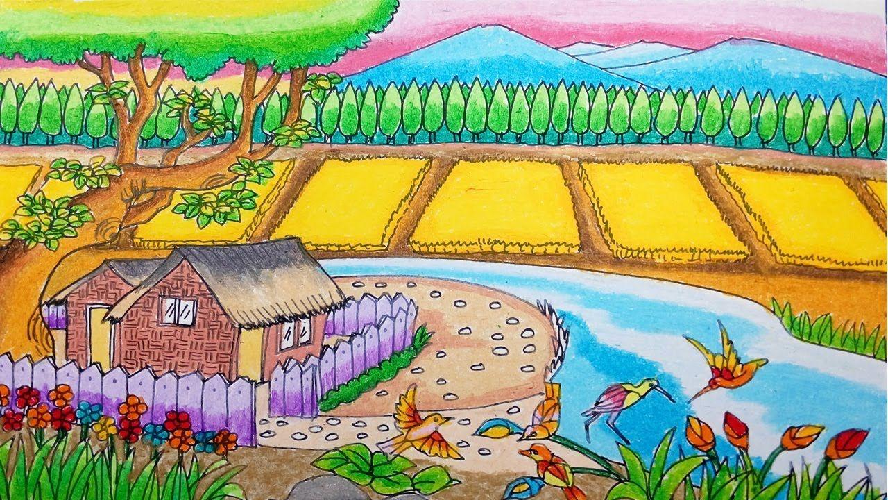 Cara Menggambar Rumah Sederhana Dan Alam Pedesaan Dengan Crayon Oil Pastel Pedesaan Gambar Pastel