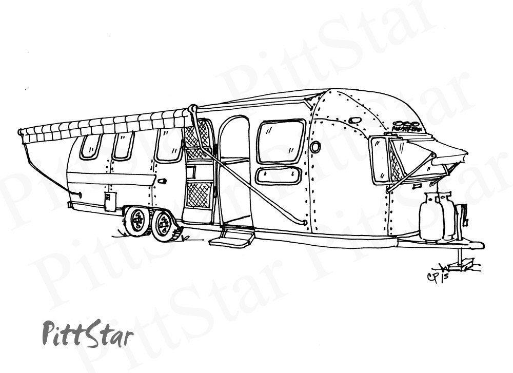 Instant Download - Vintage Airstream Travel Trailer - Printable ...