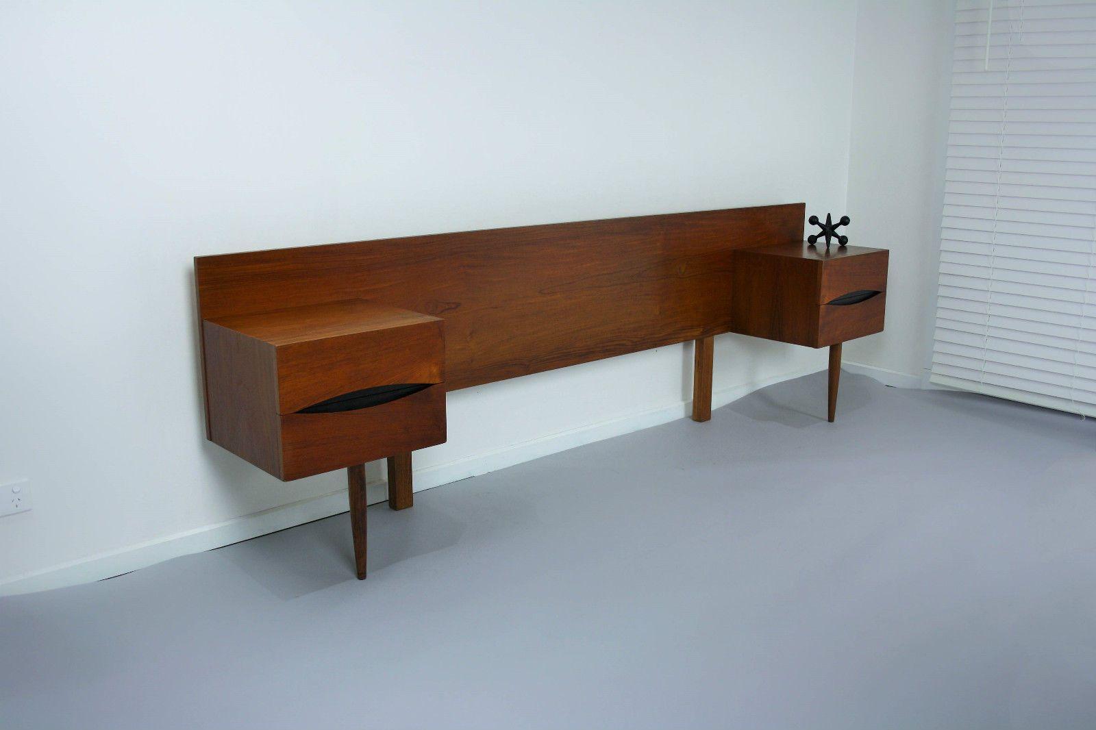 Mid century bedside tables drawers qb bedhead retro for Vintage danish modern bedroom furniture