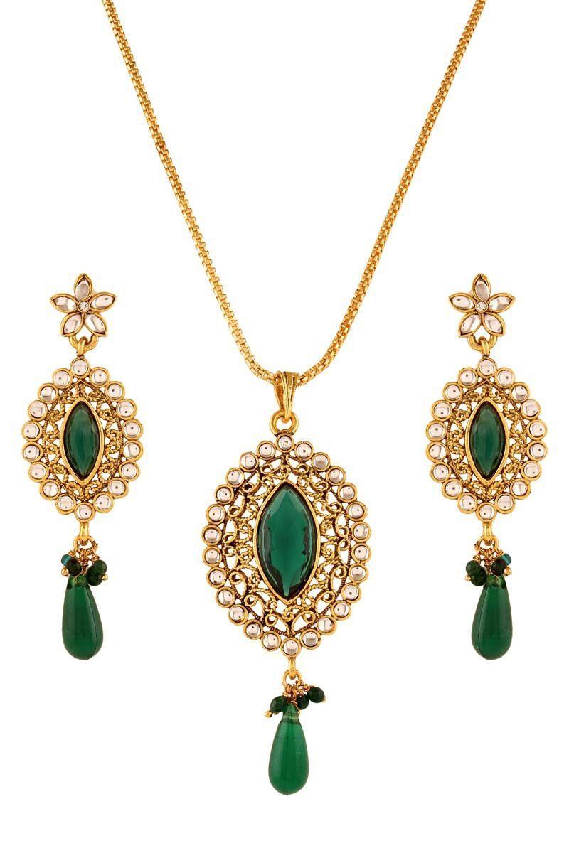 Green gold plated kundan pendant set products pinterest