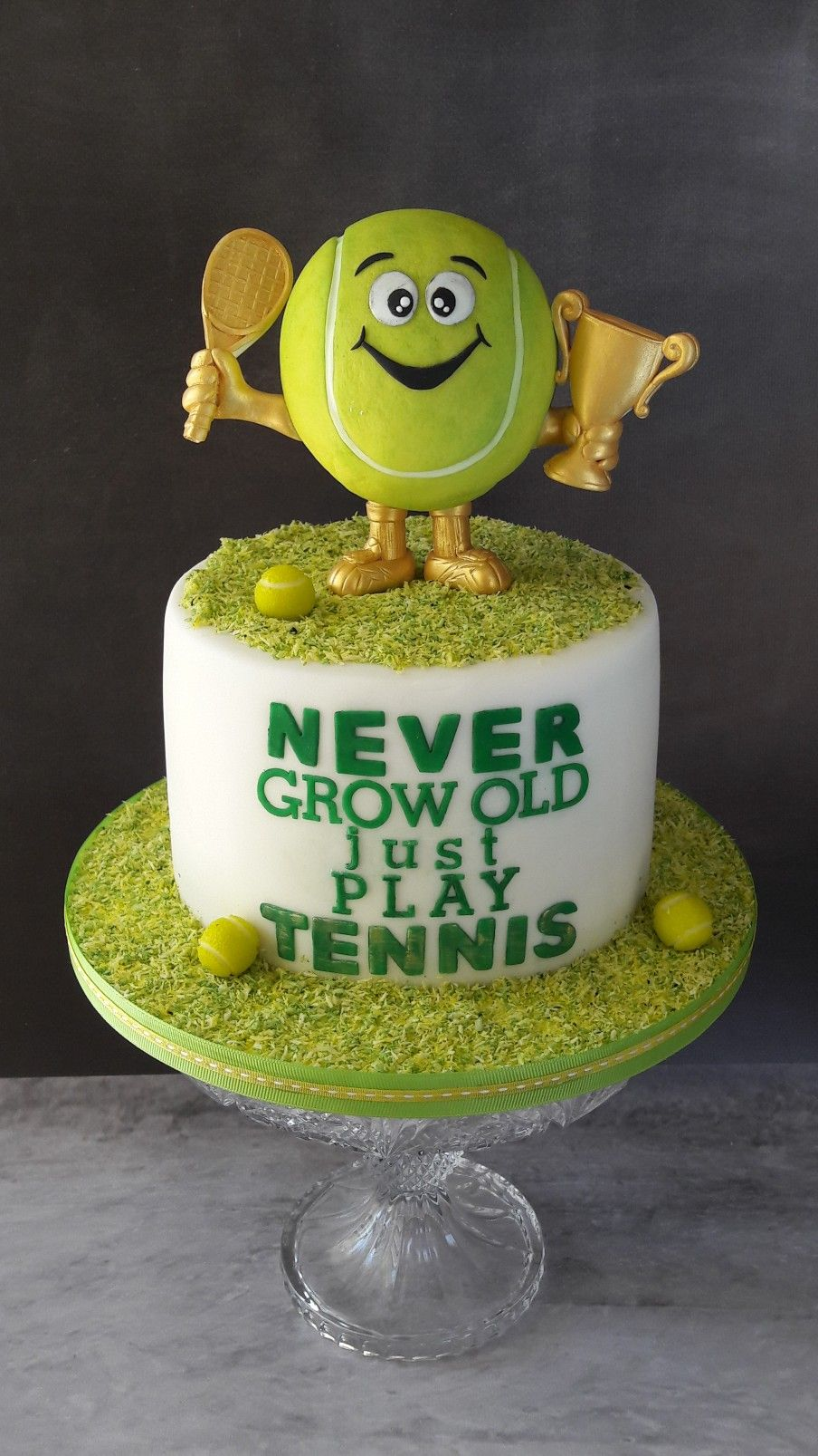Tennis Ball Cake The Most Adorable Tennis Trophy Tennis Cake Tennis Birthday Tennis Birthday Party