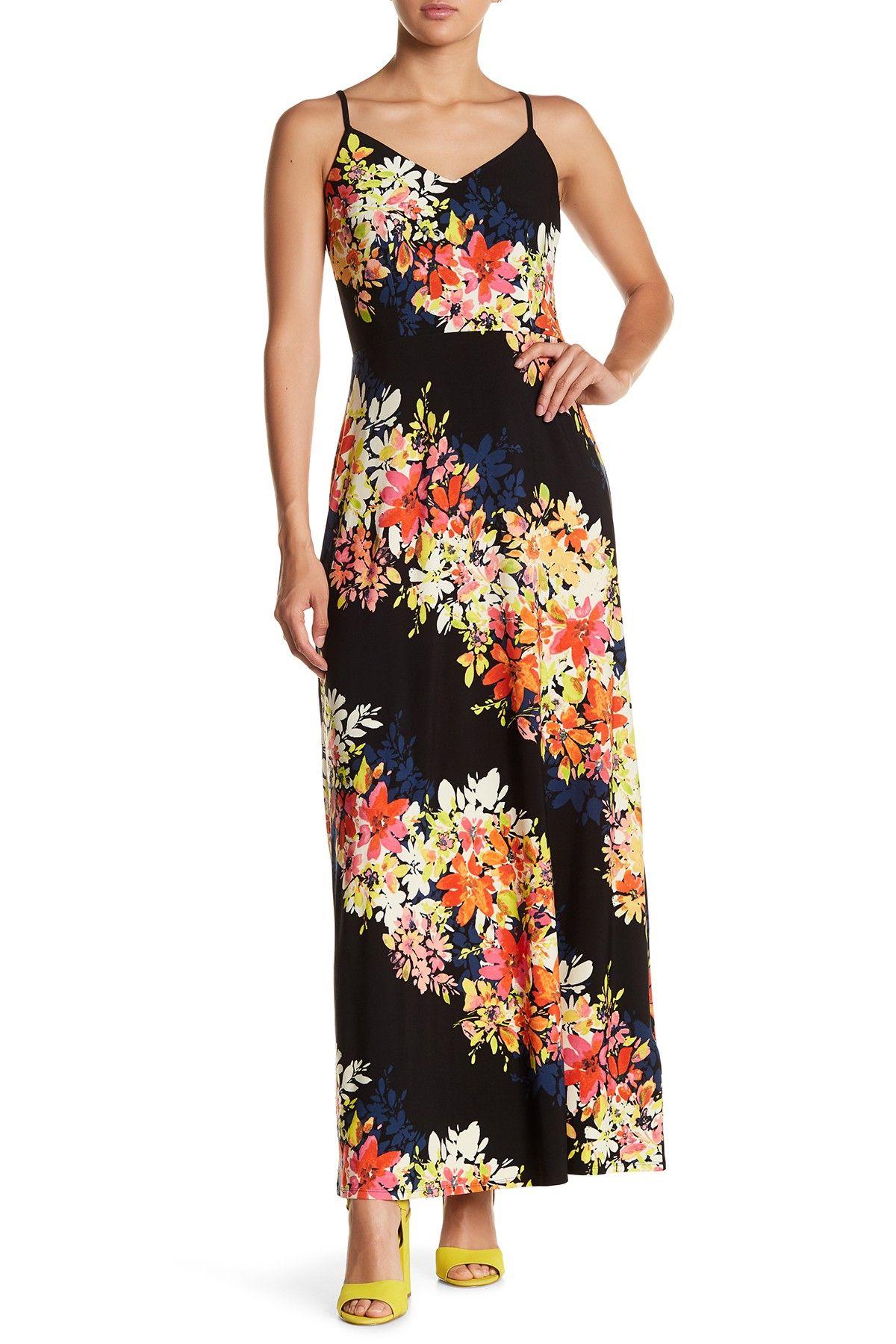 Maggy london bloom stripe print maxi dress long dresses