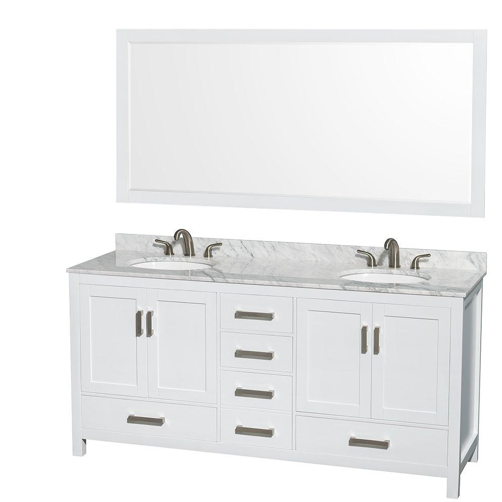 Wyndham Collection Sheffield 72 In Double Vanity In White With