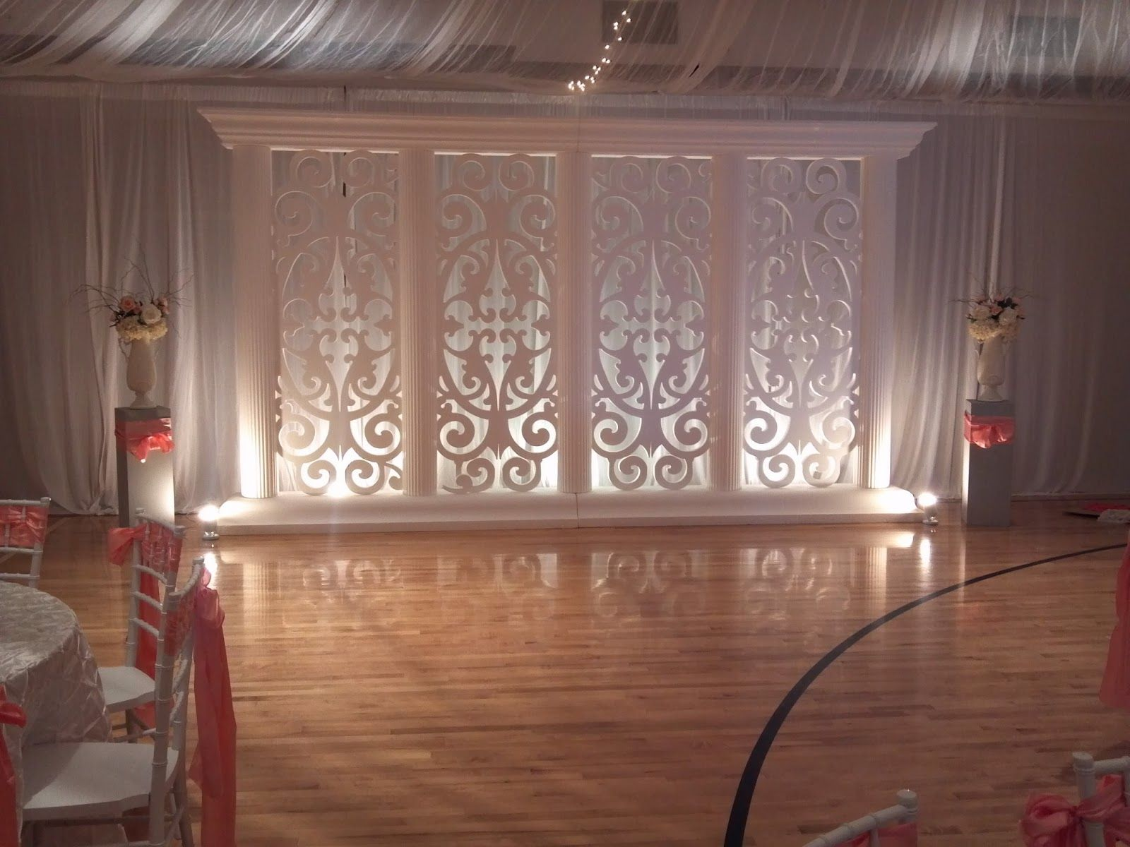 Decorate lds gym wedding receptions on the side for Backdrop decoration for church
