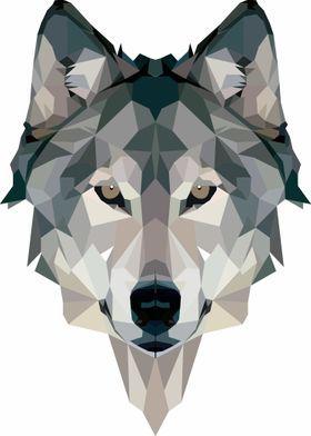 Metal Poster Geometric Wolf