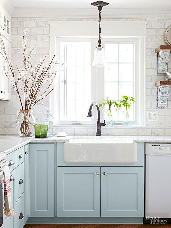 6 dreamy blue kitchens for this spring daily dream decor best rh pinterest com light blue kitchen cabinets light blue kitchen backsplash