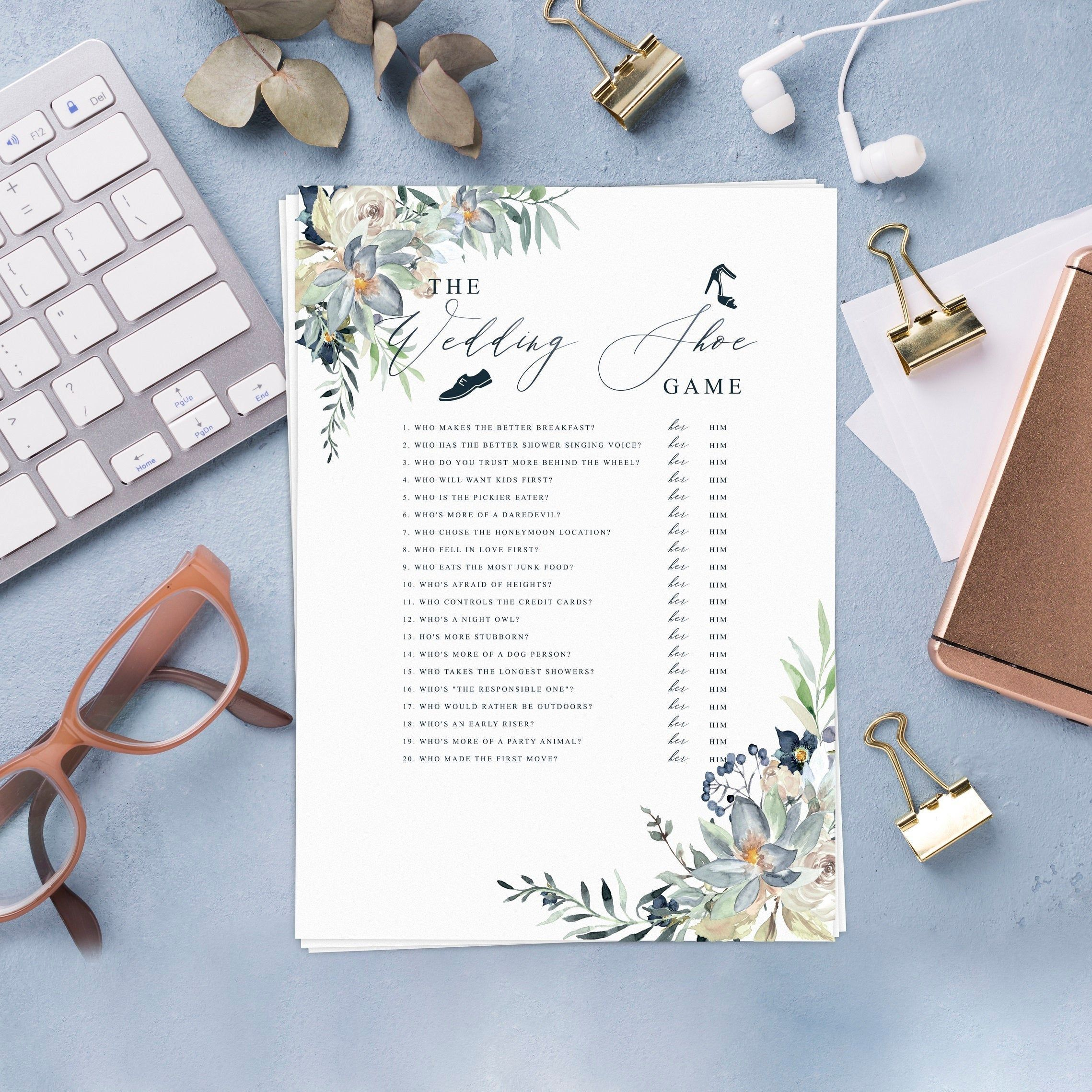 Dusty Blue Floral The Wedding Shoe Game Bridal Shower game
