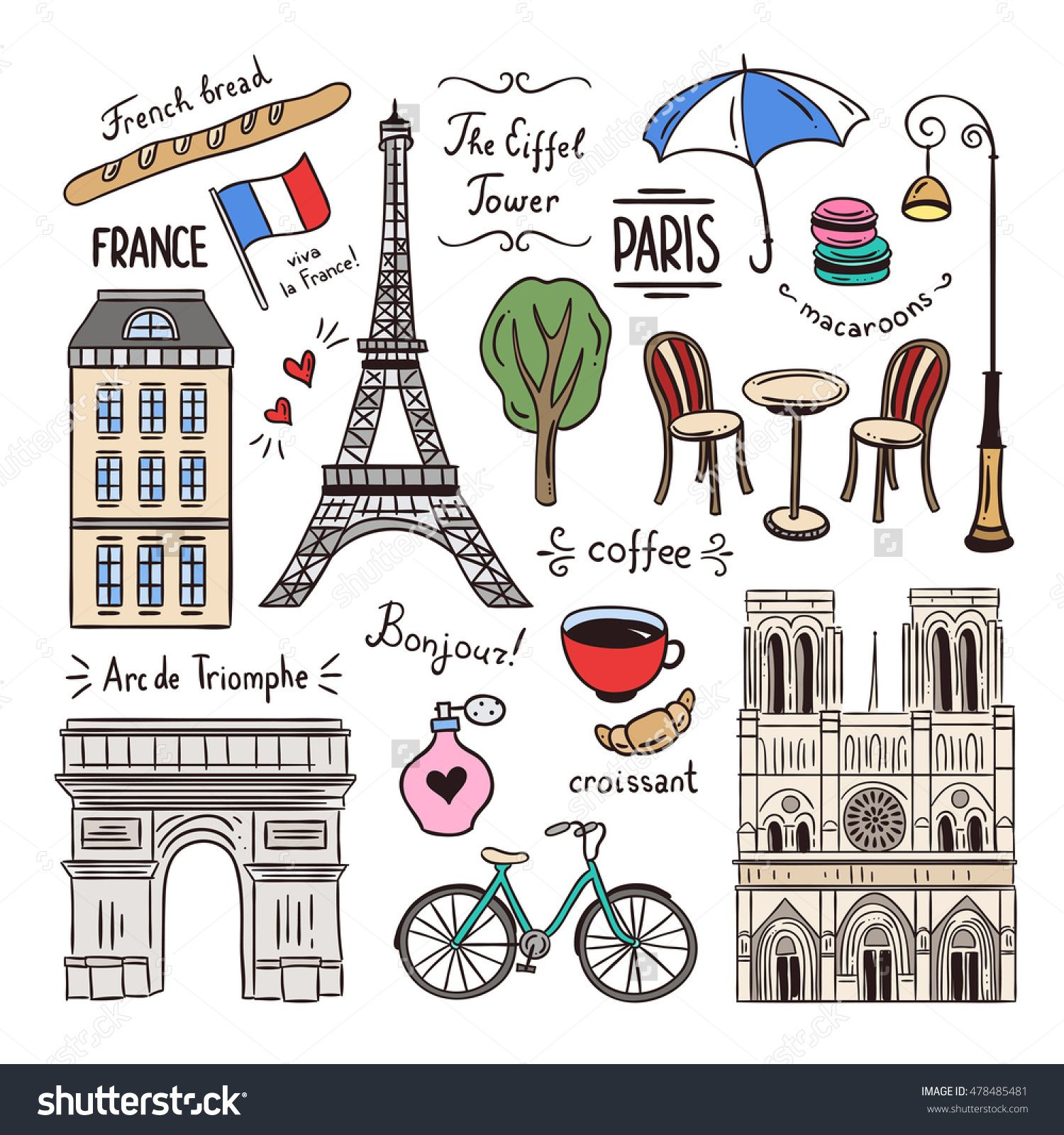 Paris hand drawn illustrations. France doodle icons and