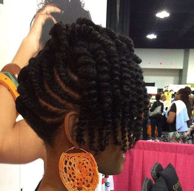 This Year I Decided To Do A Flat Twisted Updo W Twist Out Erupting From The
