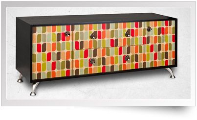 Black Paint Credenza on Hickory Wood with 'Capsules' Facets design
