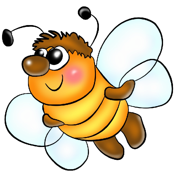 Funny PNG Format Cartoon Clip Art Honey Bees On A Transparent Background