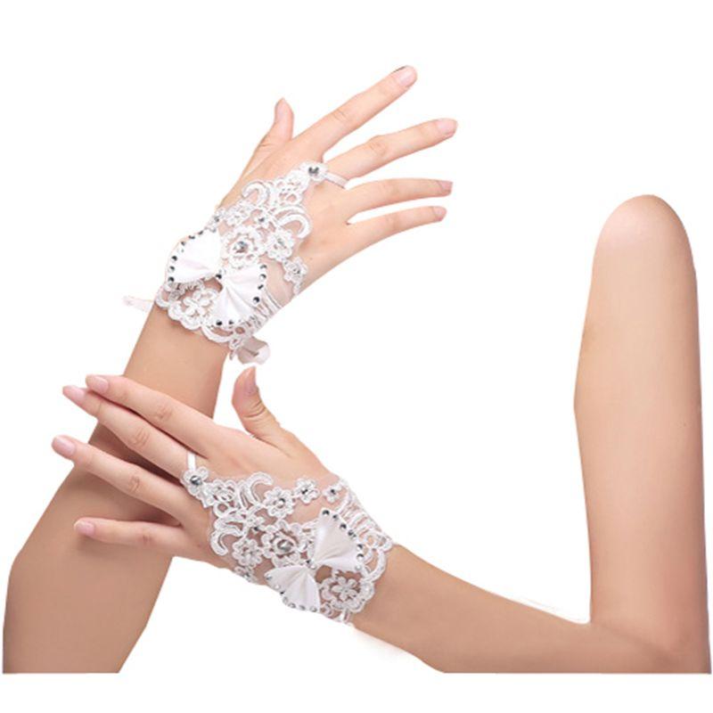 Women Satin Short Lace Bridal Wedding Gloves Wrist Length Fingerless BL