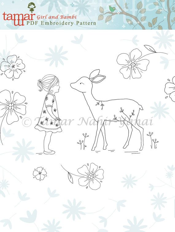 Embroidery Pattern Hand Embroidery Design Embroidery Pdf Bambi