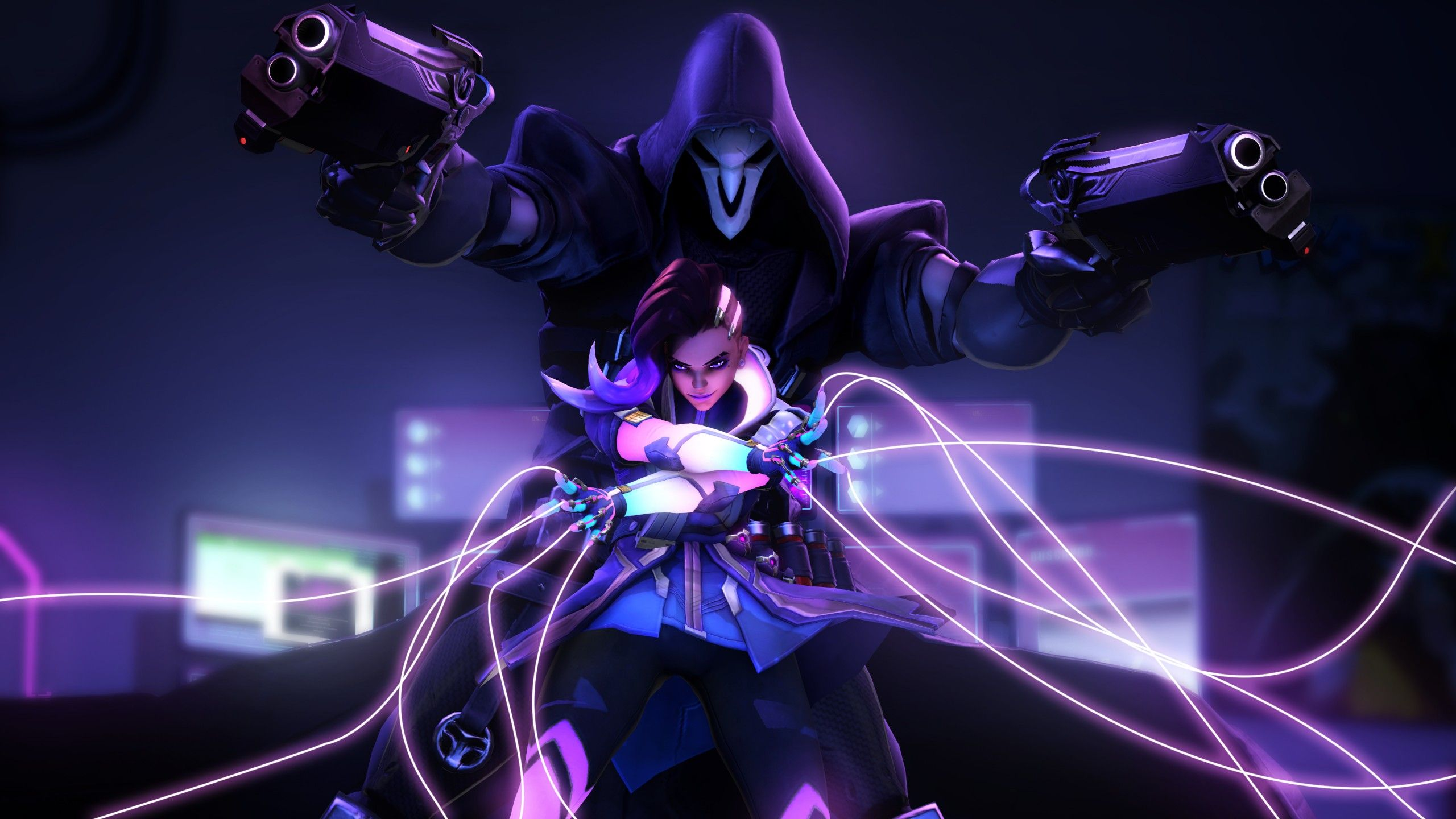 Download Overwatch Sombra Reaper Neon 4k Wallpaper Top Free