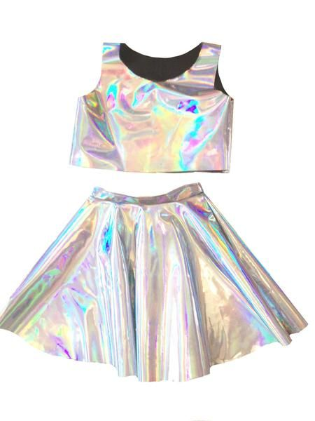 40c9f5cbba49 Handmade in New York. Holographic set of a cropped top and circle skirt.  please