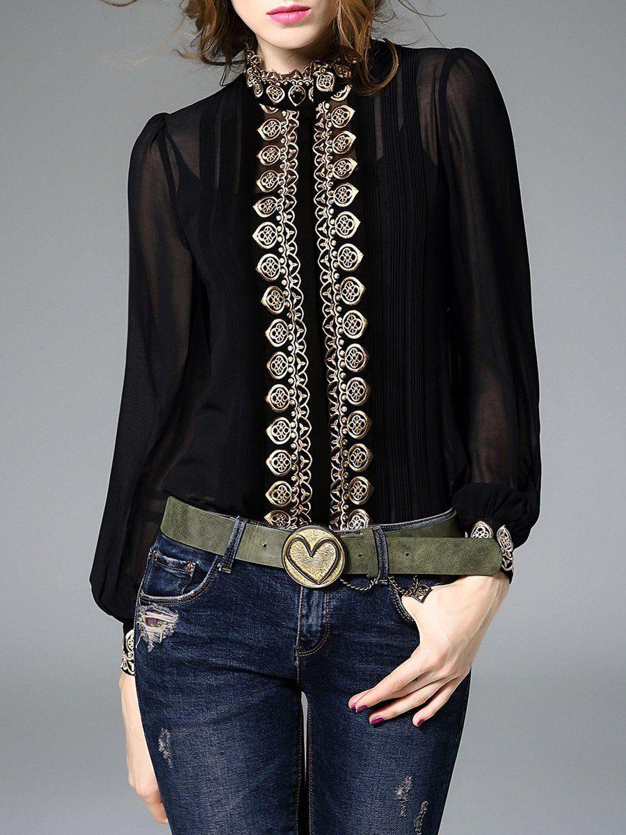 142b610af1af8d Shop Blouses - H-line Long Sleeve Polyester Simple Embroidered Blouse  online. Discover unique designers fashion at StyleWe.com.