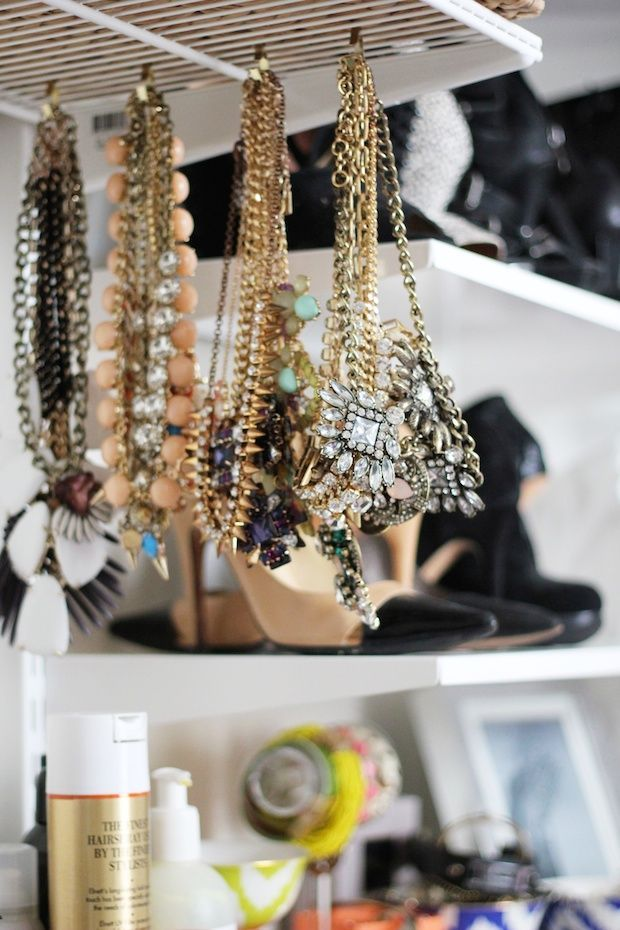 hang jewelry from hooks on the bottom of your wire shelves to save ...