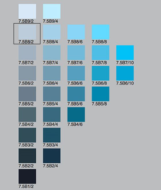 A Munsell color chart with rows of blue chips in various colors. Elba  Valverde of