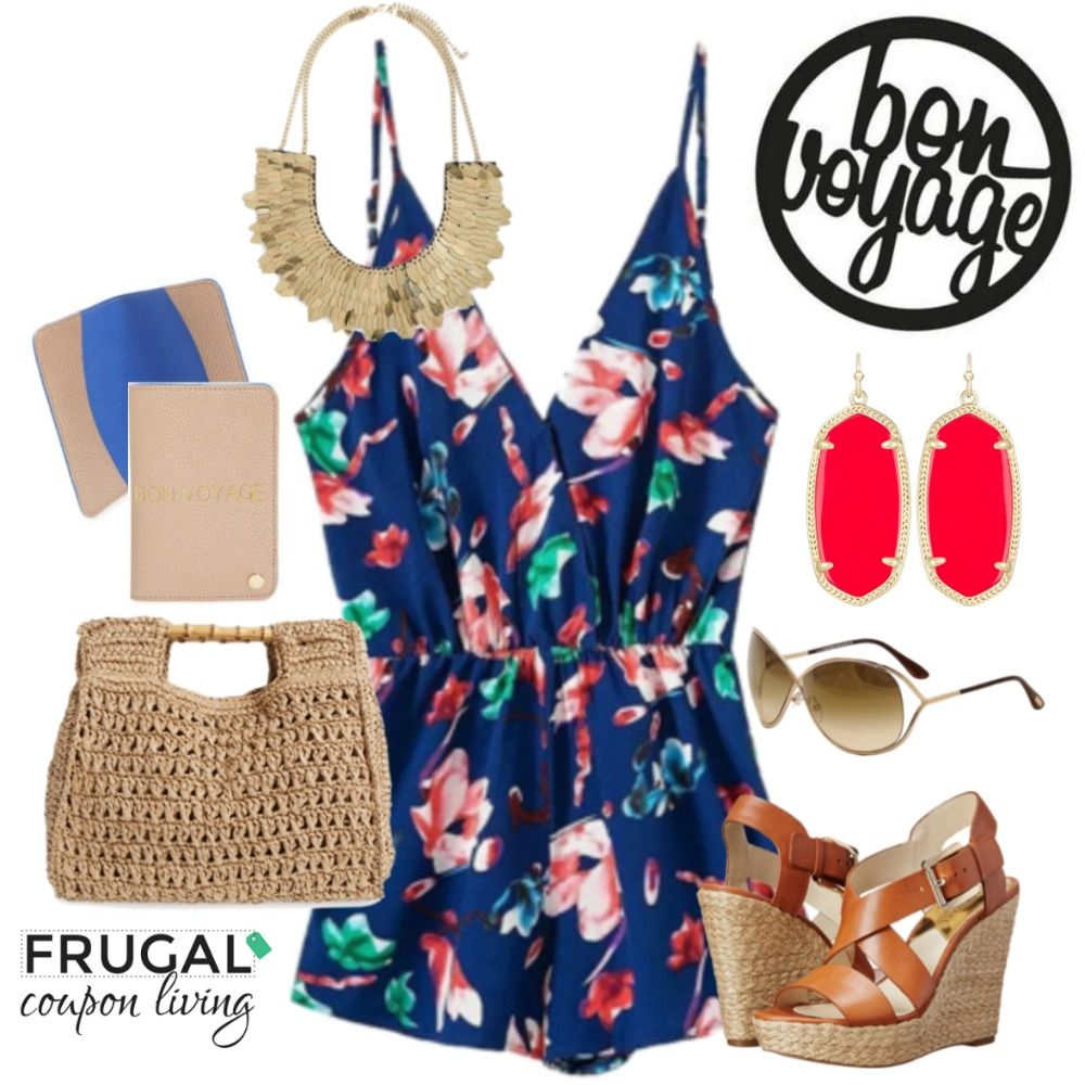 Frugal Fashion Friday Bon Voyage Cruise Outfit - Cruising, get decked out in this adorable floral romper, Kendra Scott earrings, and Michael Kors Wedges.